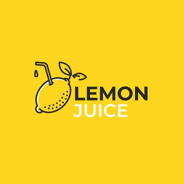 Lemon juice logo. Logotype with bright fresh lemonade. Summer drawing for a smoothies shop