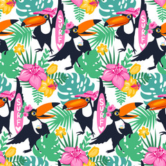 Vector cartoon tropical seamless pattern with toucan, jungle flo
