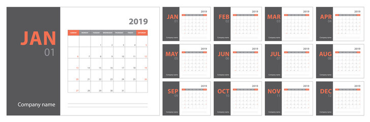 2019 calendar planning. English planner. Сolor vector template. Week starts on Sunday Fototapete