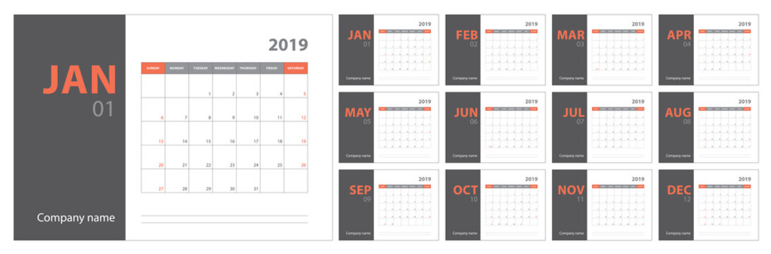 2019 calendar planning. English planner. Сolor vector template. Week starts on Sunday