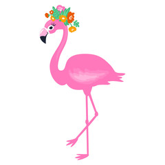 Vector Pink flamingo isolated on white background. Summer illust
