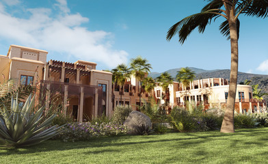 Luxury palace in mountains, 3d render