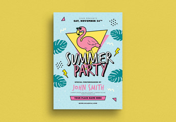 90s Summer Party Flyer Layout