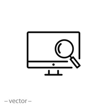 magnifier, pc monitor icon vector