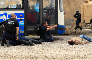 A military troop drill takes place during the Eurosatory International Defence Exhibition in Villepinte, north of Paris