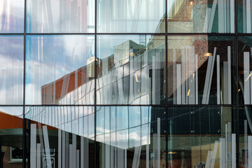Beautiful reflections in the windows of the library in Delft, the Netherlands
