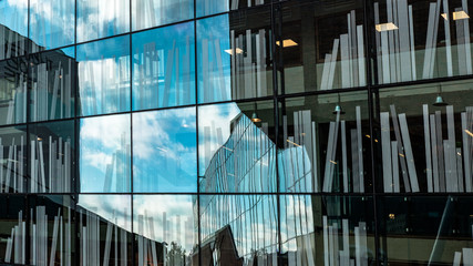 Reflections in windows of the library in Delft, the Netherlands