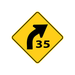 USA traffic road signs. right curve ahead,advisory to reduce speed to 35 mph in ideal driving condition. vector illustration