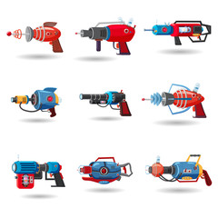 Set cartoon retro space blaster, ray gun, laser weapon. Vector illustration. Cartoon style