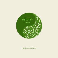 Abstract logo design template. Plant web Icon Isolated. Graphic Design eco symbol in circle. Creative Ecology Organic food concept. Monogram nature symbol. Beautiful emblem. Vector illustration