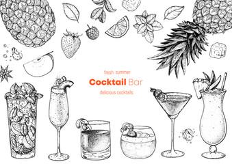 Alcoholic cocktails hand drawn vector illustration. Cocktails sketch set. Engraved style.