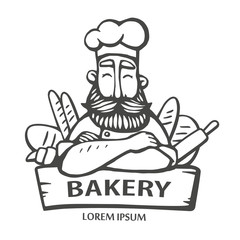 Bakery logo. Hand drawn vector illustration of chief-cooker with a mustache and beard in with a bread. chief logo.