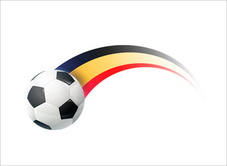 Football with Belgium national flag colorful trail. Vector illustration design for soccer football championships, tournaments, games. Element for invitations, flyers, posters, cards,  banners.