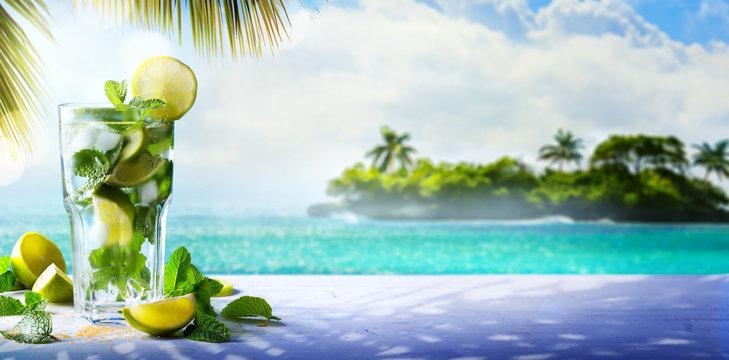 Summer Tropical Cocktail drink; enjoy mojito Paradise