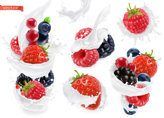 Forest fruit yogurt. Mixed berry and milk splashes. 3d realistic vector