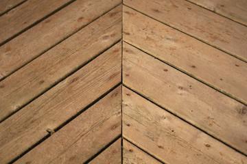 Weather worn herringbone deck