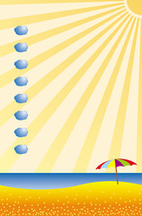 The sea and the sun. Cartoon stylized landscape. Can be used as a backing for a card, list or flyer. Vector picture.