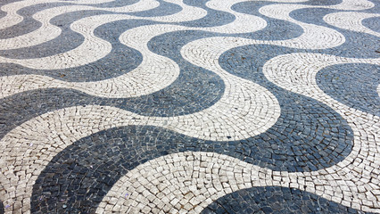 Lisbon pavement waves Handmade pavement (Calçada portuguesa) in Lisbon, Portugal. ©