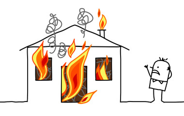 Cartoon man with house and fire