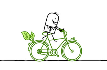 Cartoon man on green bicycle