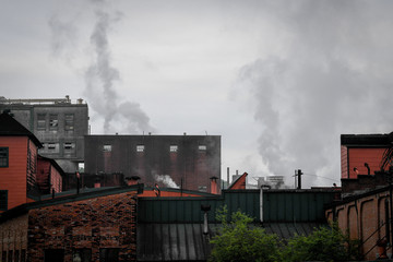 Steam rises from the Buffalo Trace Distillery in Frankfort