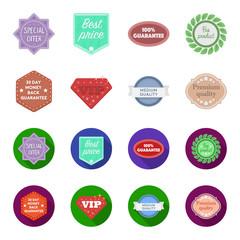 Money back guarantee, vip, medium quality,premium quality.Label,set collection icons in cartoon,flat style vector symbol stock illustration web.