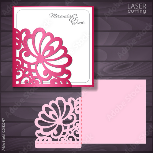 laser and die cut wedding envelope with lace corner greeting card