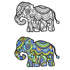 Mehndi colored traditional indian ethnic symbol with elephant. Good for henna design, fabric, textile, t-shirt print or poster
