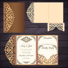 Laser cut wedding trifold envelope template vector. Wedding invitation or greeting card with abstract ornament. Suitable for greeting cards, invitations, menus.