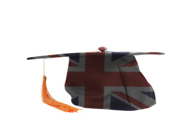 British flag on Graduation Cap.Education concept.