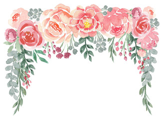 Loose Watercolor Floral Drop with Peonies