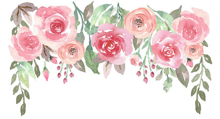 Loose Watercolor Floral Drop with Roses