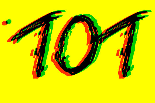 Handwritten 101 - Number one hundred one in black,red,green on yellow background