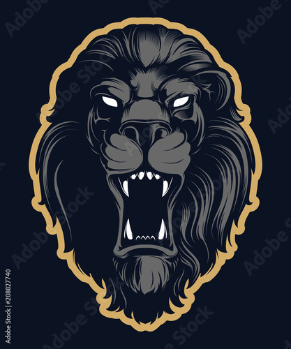 Roaring lion head mascot, colored version  Great for sports logos