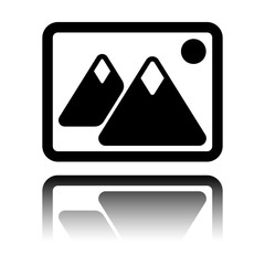 Picture with couple of mountains and sun. Simple icon. Black icon with mirror reflection on white background