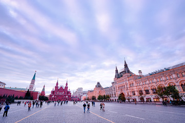 Tourism and architecture. Kremlin and National Historic Museum at Red Square in Moscow, Russia