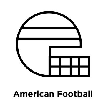 American Football HElmet icon vector sign and symbol isolated on white background, American Football HElmet logo concept, outline symbol, linear sign