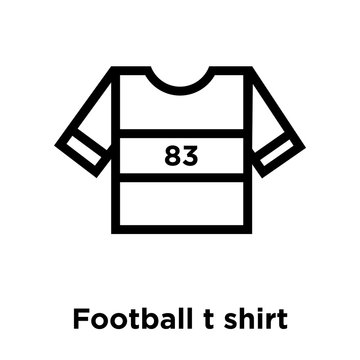 Football t shirt with number 83 icon vector sign and symbol isolated on white background, Football t shirt with number 83 logo concept, outline symbol, linear sign
