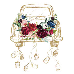 Watercolor hand painted wedding romantic illustration on white background - vintage gold car with cans & flower floral bouquet composition. Just Married! Peonies, anemones, roses, leaves.