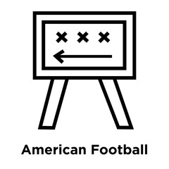 American Football Strategy icon vector sign and symbol isolated on white background, American Football Strategy logo concept, outline symbol, linear sign
