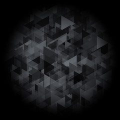 Black background with abstract gradient triangle texture