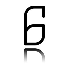 Number 6, numeral, sixth. Black icon with mirror reflection on white background