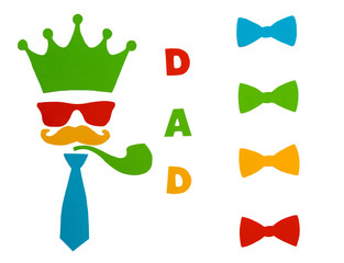 Happy Father's Day.Postcard for dad. Set of  bow tie ,crown,glasses, mustache, smoking pipe .