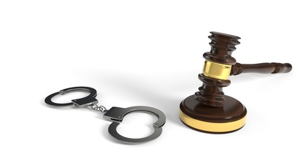 Justice gavel and handcuffs on white background, 3d rendering