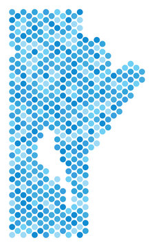 Blue circle dot Manitoba Province map. Vector geographic map in blue color tinges on a white background. Vector mosaic of Manitoba Province map done of round dot pattern.