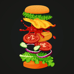 Burger icon. Coated patty, lettuce, cheese, ketchup, cucumbers, red onions, tomatoes and sesame topped bun separated into layers on a dark background.