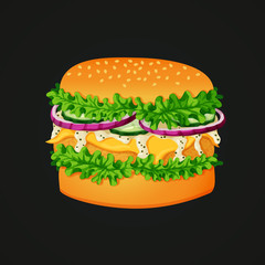 Burger icon. Coated patty, lettuce, cheese, white mayonnaise sauce, cucumbers, red onions, and sesame topped bun on a dark background.