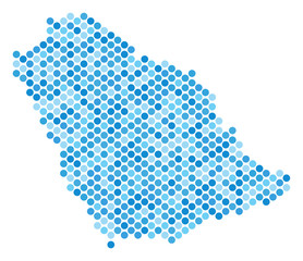 Blue round spot Saudi Arabia map. Vector geographic map in blue color variations on a white background. Vector concept of Saudi Arabia map designed of sphere item matrix.