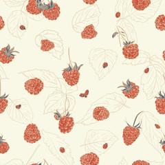 Raspberry pattern with ladybug.
