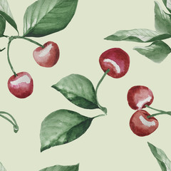 cherry berry and green leaves watercolor seamless pattern